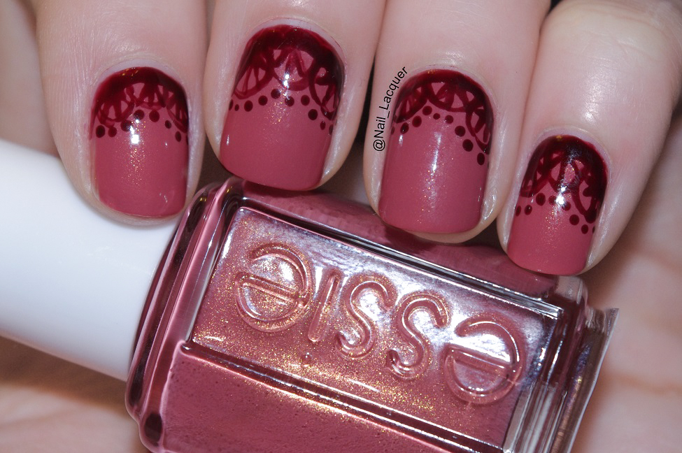 Essie- All tied up swatch with lace pattern - Nail Lacquer UK