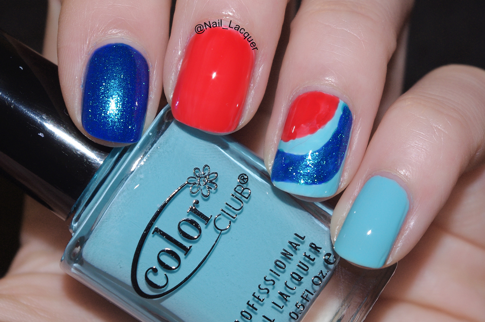 Color blocking nail art, not Pepsi advertisement