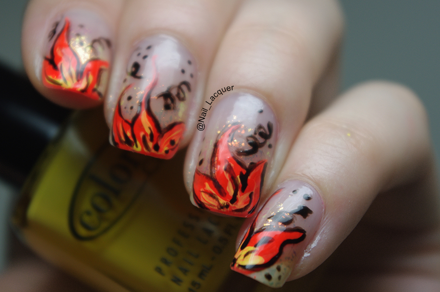Fire flower nail art nail lacquer uk prinsesfo Image collections