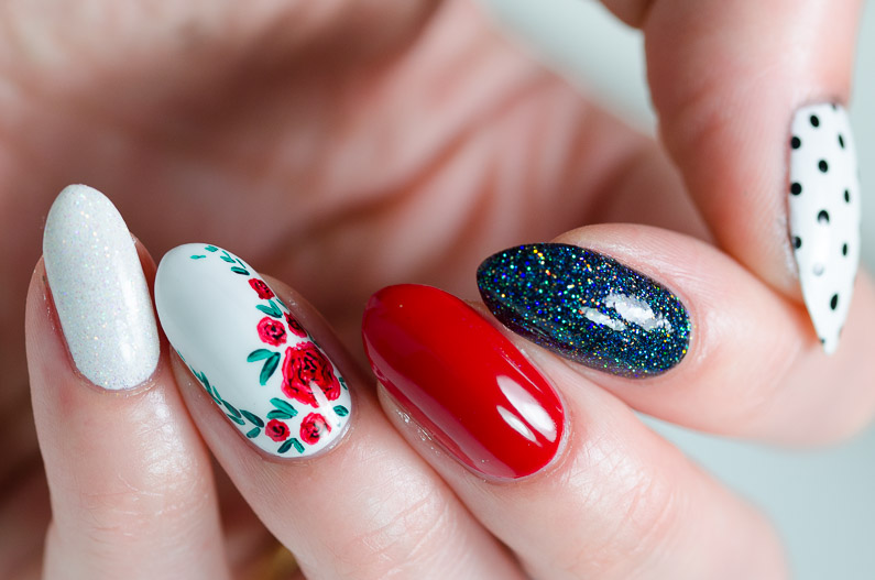 Red, white and black nail art - Nail Lacquer UK